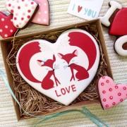 """Пряник-сердце """"Лисички"""" в подарочной коробке"""
