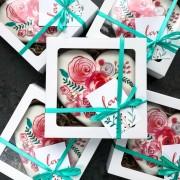 """Пряник-сердце """"Цветы"""" в подарочной коробке"""
